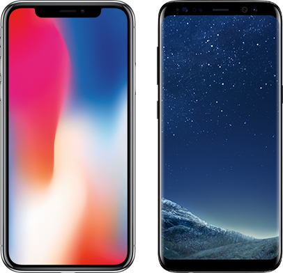 iPhone X and Samsung S8 handset